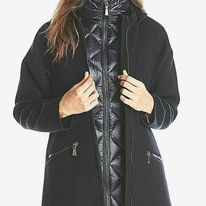 Dawn Levy Navy Wool Blend Coat w/ Puffer Down Vest